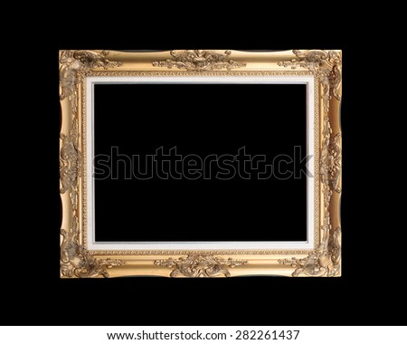 Antique gold frame isolated on black background - stock photo