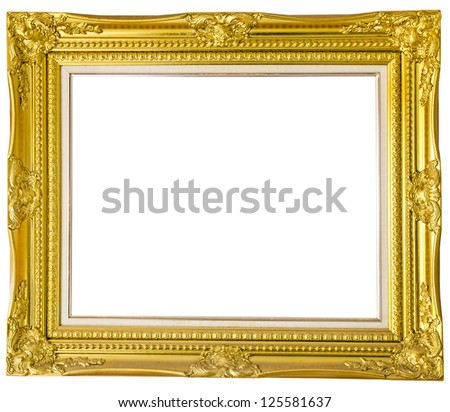 Antique gold frame isolated over white background - stock photo