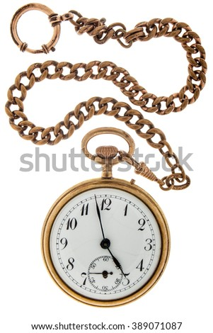 Antique gold watch a chain on a white background. - stock photo