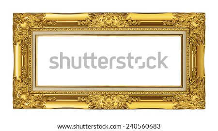 antique golden frame isolated on white background, clipping path - stock photo