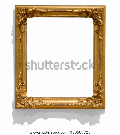 antique golden picture frame isolated on white, but with visible shadow on wall - stock photo
