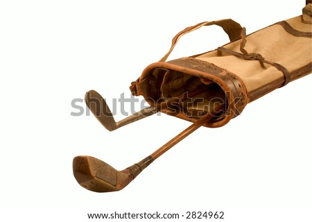 Antique Golf Clubs In A Old Golf Bag (With Clipping Path) - stock photo