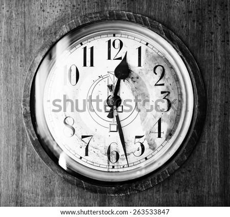 Antique grandfather clock, black and white photo, close up photo - stock photo