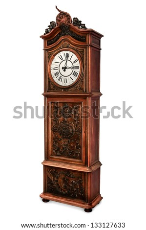 Antique grandfather clock with elegant wood carved decoration, isolated - stock photo