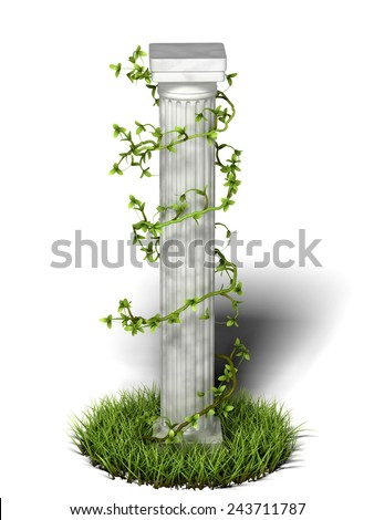 Antique Greek Column Covered With Willow - stock photo