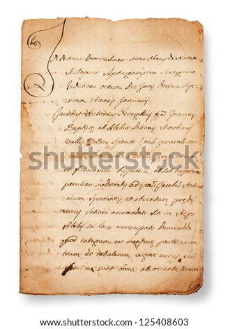 antique handwriting  isolated on white - stock photo
