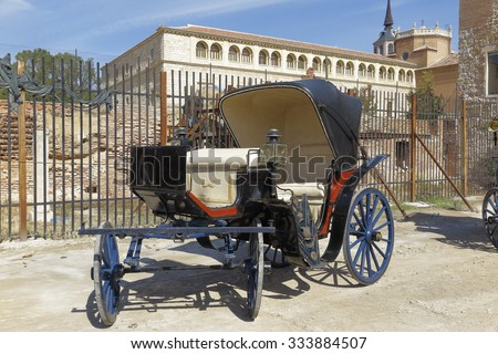 antique horse carriage in a outdoor exposition - stock photo