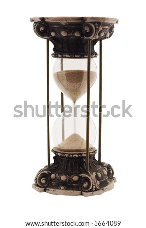 Antique hourglass isolated on white - stock photo