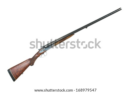 Antique hunting double-barrelled gun on a white background - stock photo