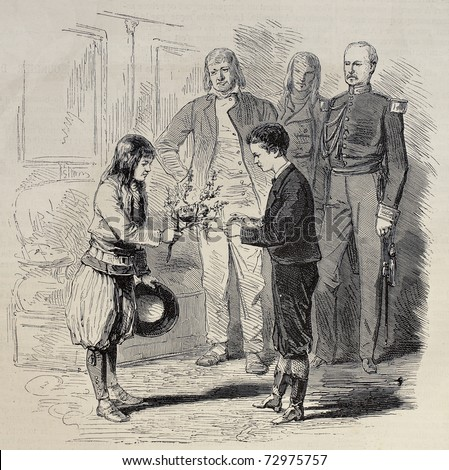 Antique illustration of a boy presenting nest to Prince Imperial Louis Napoleon Bonaparte. Original, from drawing of Pauquet, was published on L'Illustration, Journal Universel, Paris, 1868 - stock photo