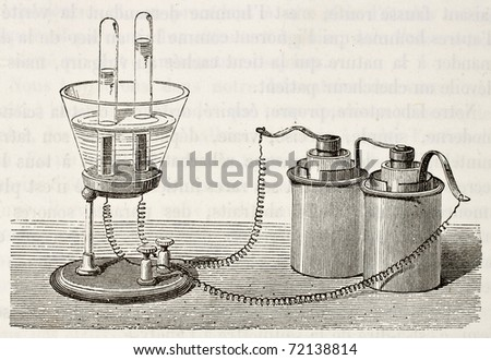 Antique illustration of electrolysis laboratory equipment. Original, from drawing of Javandier, was published on L'Eau, by G. Tissandier, Hachette, Paris, 1873 - stock photo