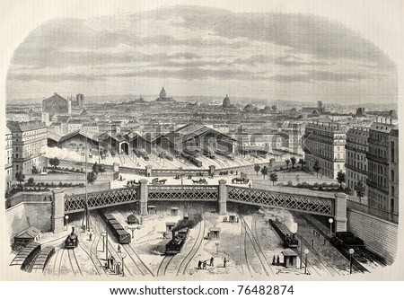 Antique illustration of iron bridge upon place de l'Europe (Europe square) in the west railway station. Created by Lamy, published on L'Illustration, Journal Universel, Paris, 1868 - stock photo
