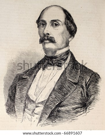 "Antique illustration of Luigi Carlo Farini, Italian statesman and historian. Original, from drawing of Hofer, was  published on ""L'Illustration, Journal Universel"", Paris, 1860 - stock photo"