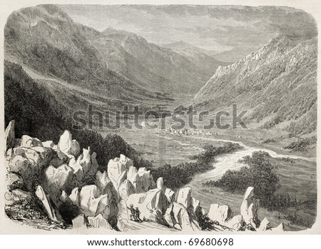 Antique illustration of mountains and valley around Chamonix. Original, from drawing of K. Girardet after photo of Bisson brothers, was  published on L'Illustration, Journal Universel, Paris, 1860 - stock photo