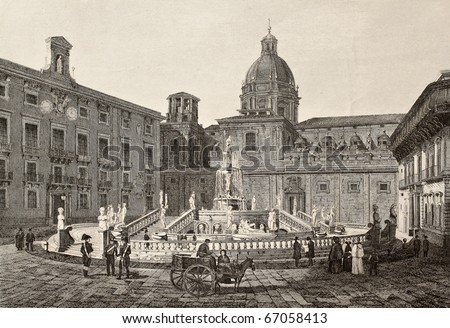 Antique illustration of Piazza Pretoria in Palermo, Italy. The original engraving, created by B. Rosaspina, may be dated to the first half of 19th c. - stock photo