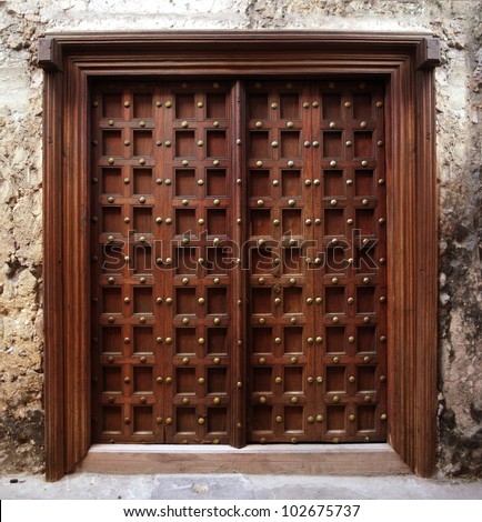Antique Indian style Wooden Door - stock photo