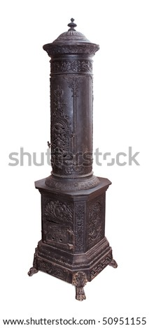 Antique iron stove isolated over white. Clipping path included. - stock photo