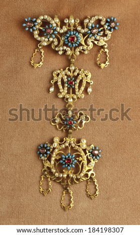 Antique jewel from goldsmith's old tradition of Piana degli Albanesi, Sicily - stock photo