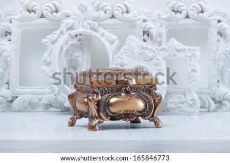 antique jewelry box  - stock photo