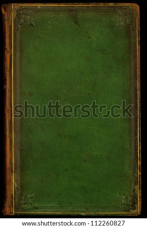 Antique leather book cover; textured with age, stains and scratches. Tooled gilded frame and floral edge emblems. Use as background. - stock photo