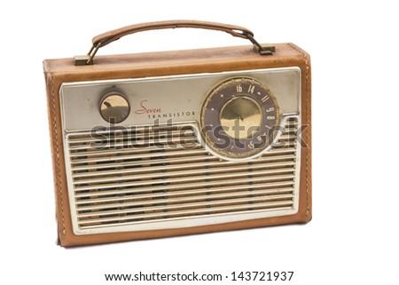 Antique leather radio on white background. - stock photo