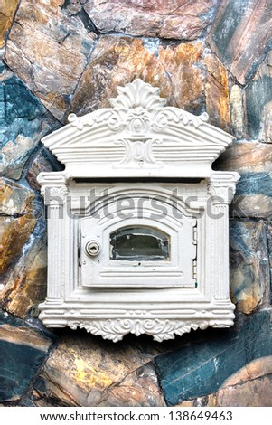 antique letter box - stock photo