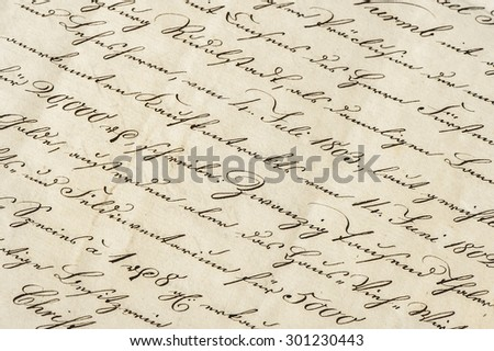 Antique letter with calligraphic handwritten text. Grunge vintage paper background - stock photo