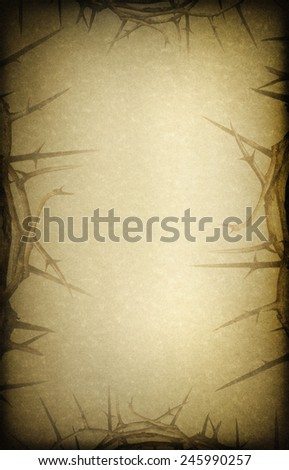 Antique linen texture Easter background with Crown of Thorns representing Jesus Christ's crucifixion and rising from the dead. - stock photo
