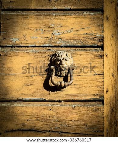 Antique lion shaped door knocker - stock photo