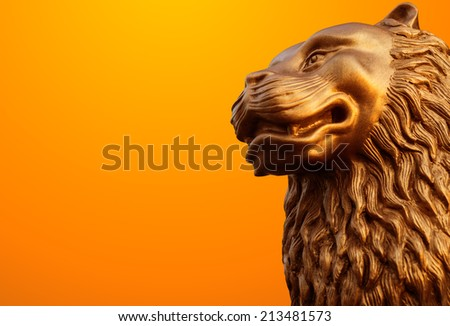 Antique lion statues with path - stock photo
