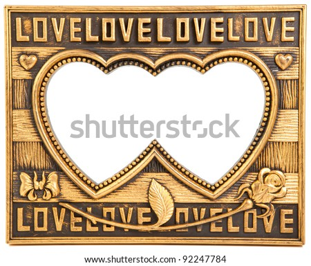 antique love gold frame isolated on white - stock photo