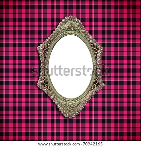 antique Luxury Ellipse picture frame on fabric - stock photo