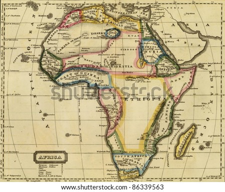 Antique map of Africa.From Atlas by John Thomson, 1817. - stock photo
