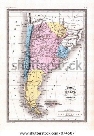 Antique 1870 Map of Argentina Chile Patagonia - stock photo