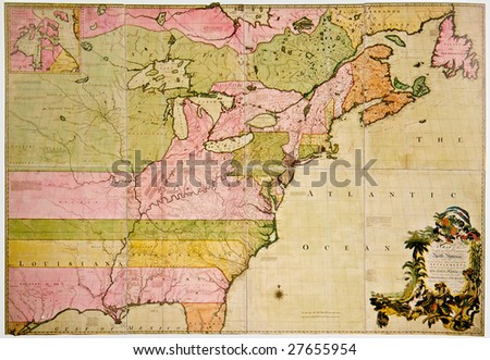 Antique map of French and British Dominions in North America. Photo from old reproduction - stock photo