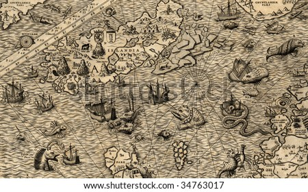 Antique map of Northen Sea (1572, fragment_4) - stock photo