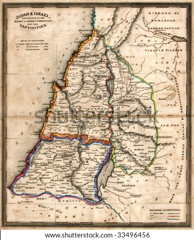 Antique map of old Israel, line colored, dated 1836. - stock photo