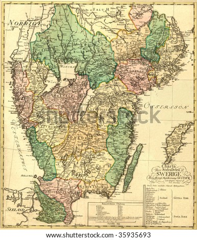 Antique map of Sweden (18 centuries). - stock photo