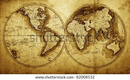 Antique map of the world (circa 1711 year) - stock photo