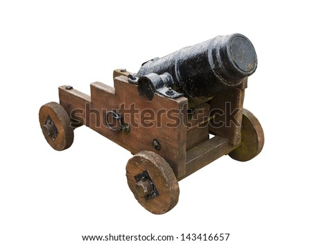 Antique medieval seige cannon used in the past to bombard castles and fortifications - stock photo
