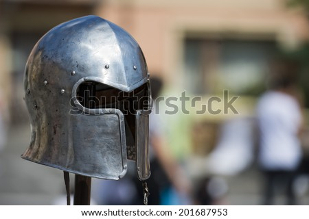 Antique metallic medieval armor Helmet detail - stock photo