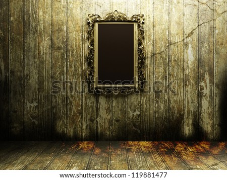 antique mirror in a dark and scary room - stock photo