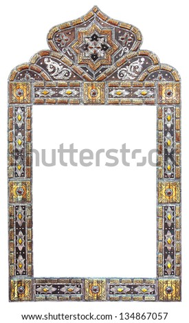 Antique Moroccan style mirror with decorative isolated on white background - stock photo