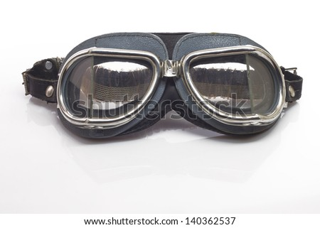 Antique motorcycle glasses isolated on white - stock photo