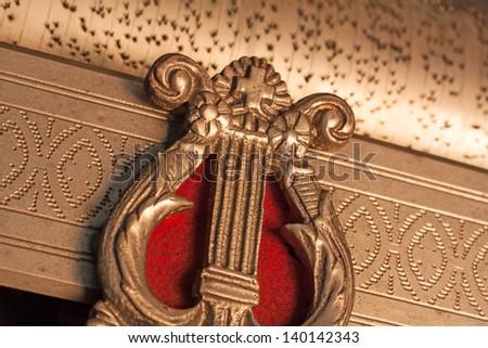 antique music box - stock photo
