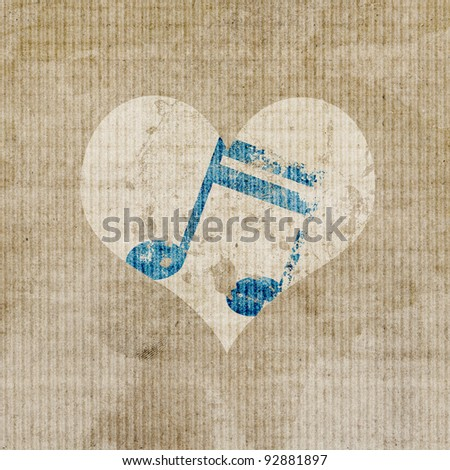 antique music in heart logo background - stock photo