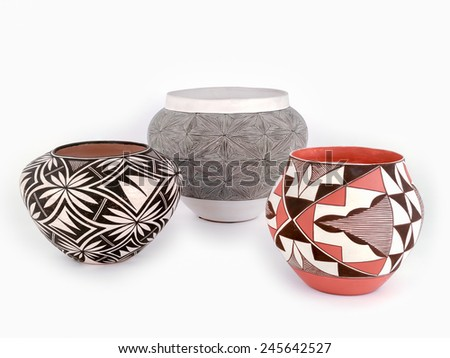 Antique Native American Pottery. - stock photo