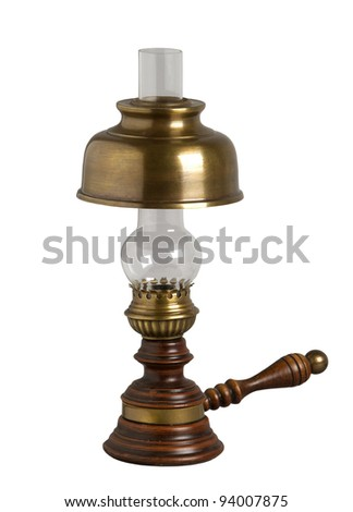 Antique oil lamp, isolated on white - stock photo