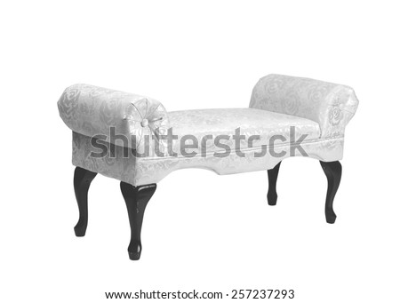 antique old-fashioned upholstered bench in black and white in black and white - stock photo