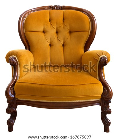 Antique orange armchair isolated on white background - stock photo